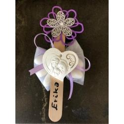 Segnalibro fiori con confetti e sacra famiglia