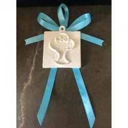 Segnaposto icona prima comunione gesso ceramico profumato