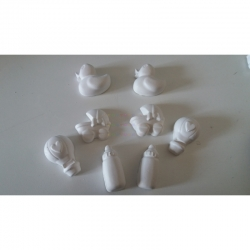 Carrozzina, biberon, papera, mongolfiera gesso ceramico profumato