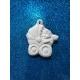 Bimbo - neonato nel passeggino in gesso ceramico profumato