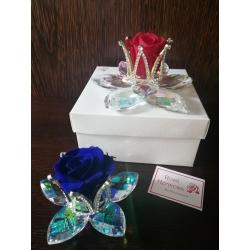 Fiore cristallo con corona strass e rosa eterna cm 8