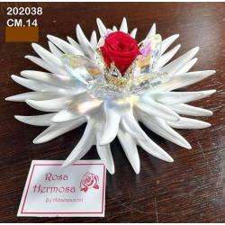 Riccio marino con fiori cristallo, corona di strass e rosa eterna