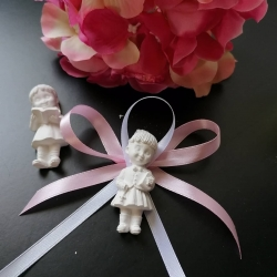 Bimba comunione gesso ceramico h 6 cm