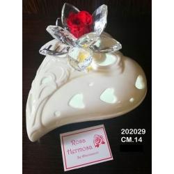 Cuore ceramica con luce led , ninfea cristallo e rosa eterna