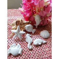 Stella marina, cavalluccio marino, delfino, tartaruga, pesce, foca,granchio, conchiglia gesso ceramico profumato