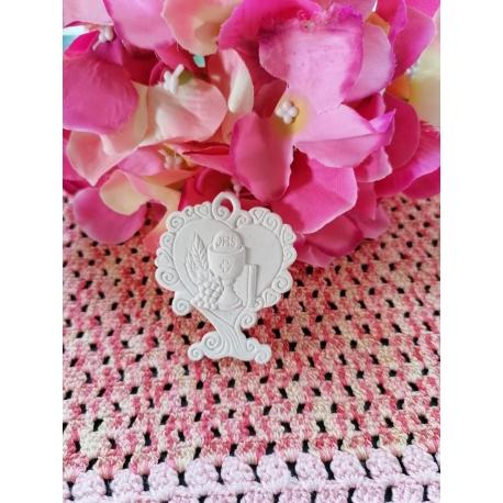 Albero cuore con angelo in gesso ceramico profumato