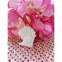 Albero della vita con icona comunione in gesso ceramico su tulle