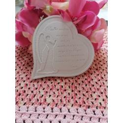Cuore angelo con preghiera padre nostro in gesso ceramico profumato