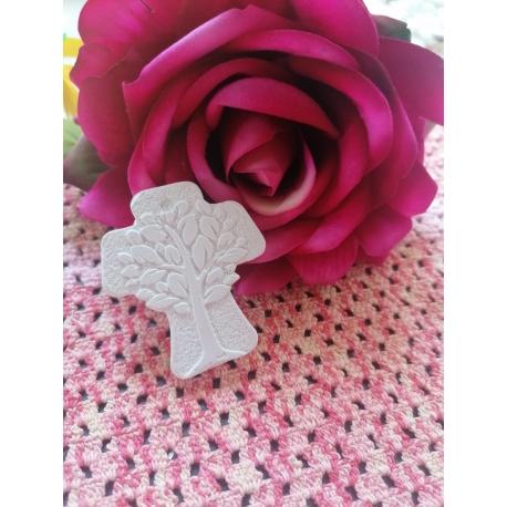 Croce con albero della vita in gesso ceramico profumato