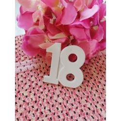 Numero 18 in gesso ceramico da 6 cm