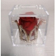 Corona di strass con rosa eterna e scatolina plexi 6x6x6