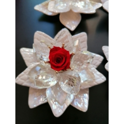 Fiore porcellana con ninfea cristallo, corona strass e rosa eterna