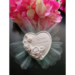 """Cuore con rose e scritta """"love forever """" in gesso ceramico profumato"""