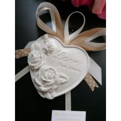"""Segnaposto cuore con rose e scritta """"love forver """" in gesso ceramico profumato"""