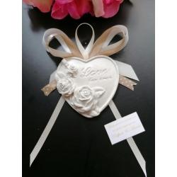 Segnaposto cuore LOVE in gesso ceramico profumato