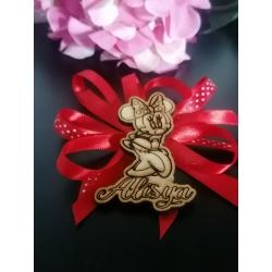 Segnaposto Minnie con nome in legno personalizzato