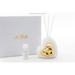 Profumatore cuore pocellana bianco ed oro : linea Golden love