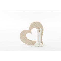 Sposi porcellana con cuore legno h 7,5 cm - 12 pezzi