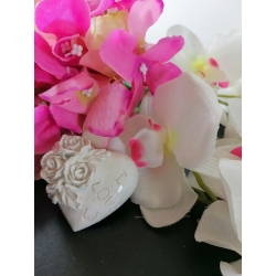 Cuore con rose a rilievo e scritta I love you in gesso ceramico profumato