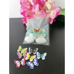 Sacchetto trasparente porta confetti con fiocchetto e pois tiffany e con farfalla legno