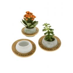 Porta piante terracotta con decoro bamboo