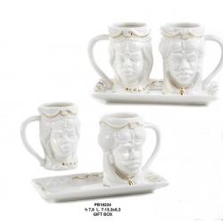 Coppia tazzine porcellana TESTA DI MORO cm. 13,3
