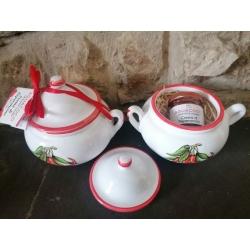 Linea Gourmet : pentolino ceramica dipinto a mano con interno confettura