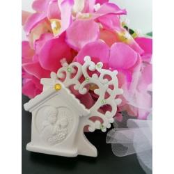 Casa con albero bimba e bimbo prima comunione gesso ceramico profumato