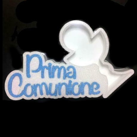 Scritta Prima Comunione con porta confetti calice in polisirolo