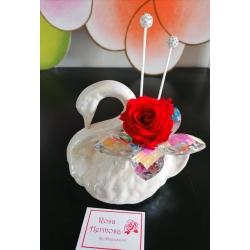 Profumatore cigno con fiore di cristallo e rosa eterna
