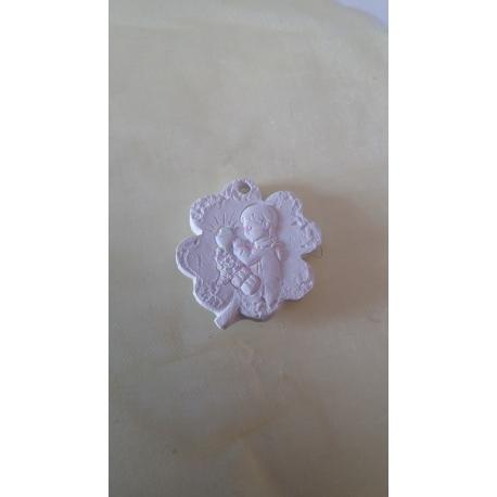 Quadrifoglio con bimba prima comunione gesso ceramico